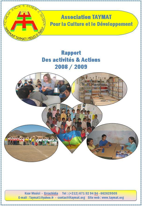Rapport des activités de l'association Taymat pour 2008/2009 à Télécharger en PDF