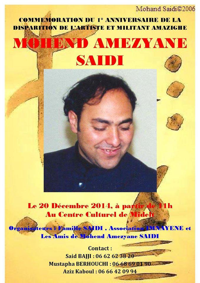 Premier anniversaire de la disparition Mohend Amezyane SAIDI