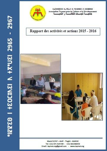 Rapport des activités de l'association Taymat pour 2015/2016 à Télécharger en PDF
